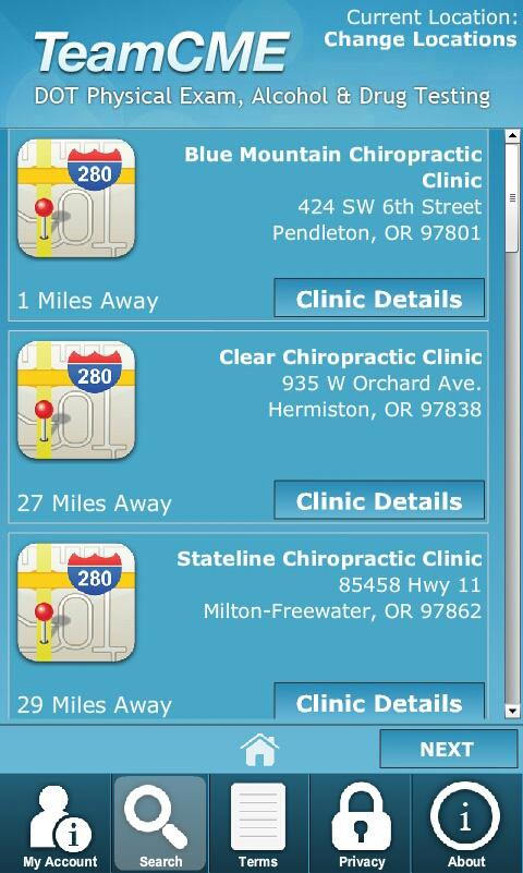 DOT Physical Exam Locations- screenshot
