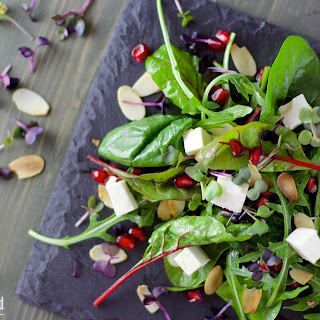 Leaf Salad with Pomegranate and Feta