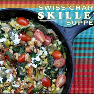 Swiss Chard Skillet Supper Recipe ♥ with Tomatoes, Corn, Feta, Fresh Dill & Toasted Walnuts