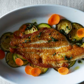 Dover Sole with Herb Oil and Zucchini.