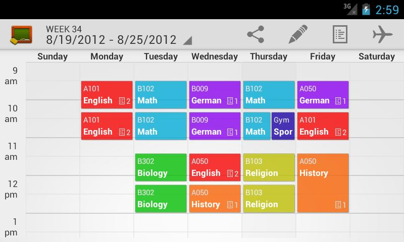 My Class Schedule (donation)- screenshot