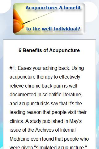 Benefits of Acupuncture - screenshot