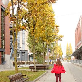Autumn by Jordin Pierce - People Street & Candids ( girl, nature, autumn, color, street, buildings, candid, people )