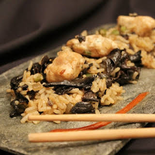 Thai Rice with Black Trumpet Mushrooms and Chicken.