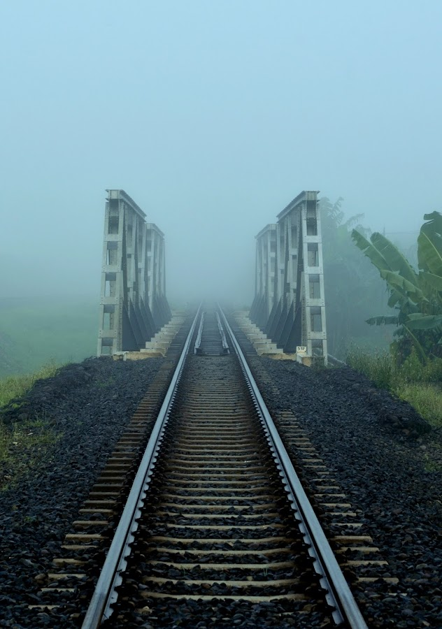fog in railway by Urip Supriyadi - Transportation Railway Tracks