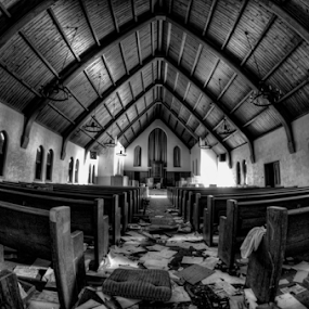 Abandoned Church by Dawn Robinson - Buildings & Architecture Decaying & Abandoned ( urban exploration, bw, abandoned. church,  )