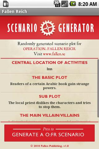 O:FR Scenario Generator- screenshot
