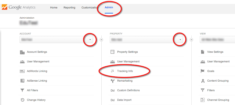 Image of where you find your tracking code in your Analytics account.