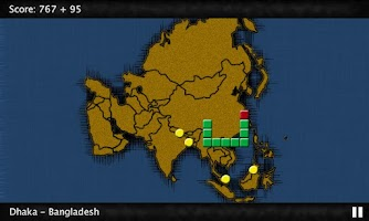 Screenshot of GeoSnake: Asia