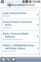 Screenshot of ResumeMaker On-the-Go