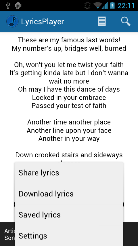 LyricsPlayer - screenshot