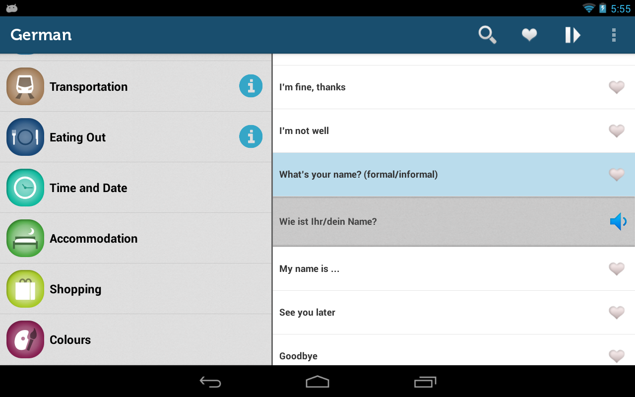 Learn German Pro Phrasebook - screenshot