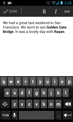 Screenshot 2 for Blogger's Android app'