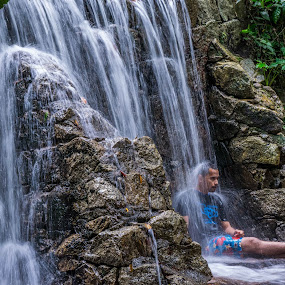 Chilling by Loh Jiann - People Portraits of Men ( splash, frim, waterfall, men, chill, Travel, People, Lifestyle, Culture,  )