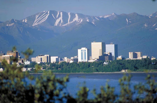The skyline of Anchorage, Alaska.