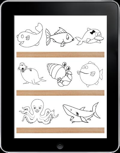 海洋動物著色遊戲