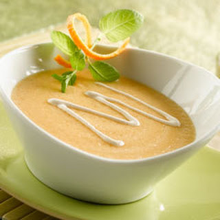 Cantaloupe Soup With Chipotle Cream.