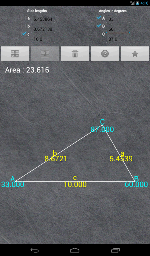 Universal Triangle Solver - screenshot