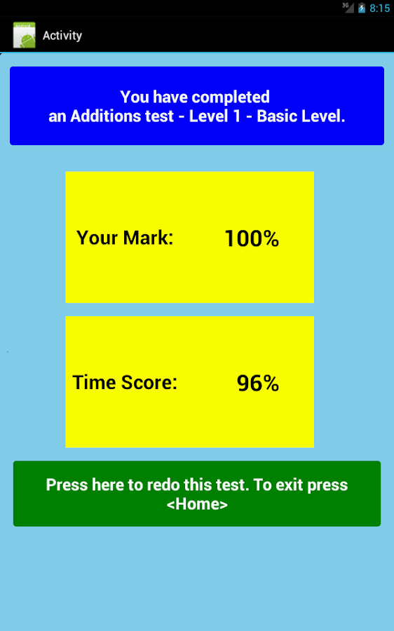 Math Testing- screenshot