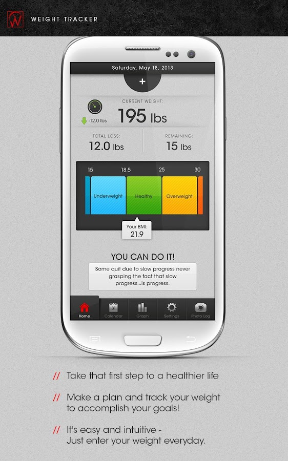 Weight Tracker  Free - BMI BMR - screenshot
