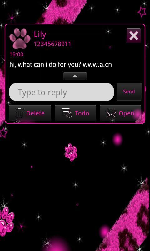 SMS Pink Leopard theme Stars - screenshot