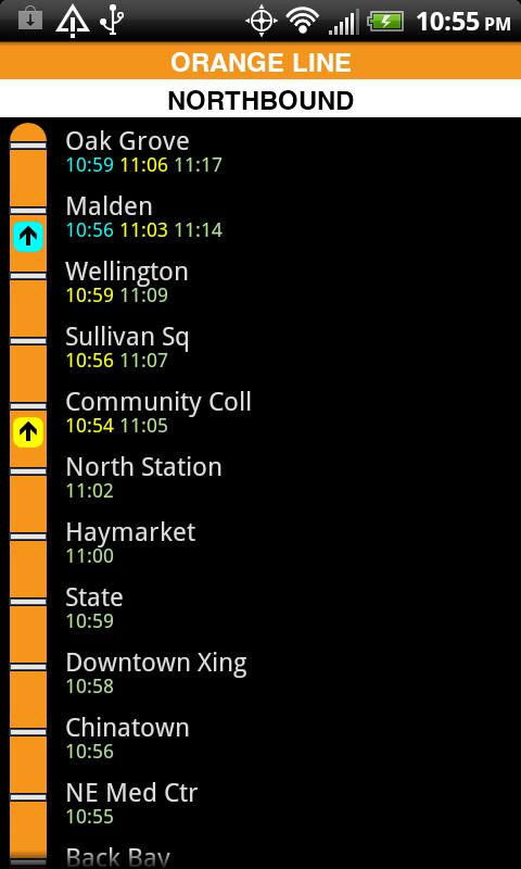 MBTA T Times- screenshot