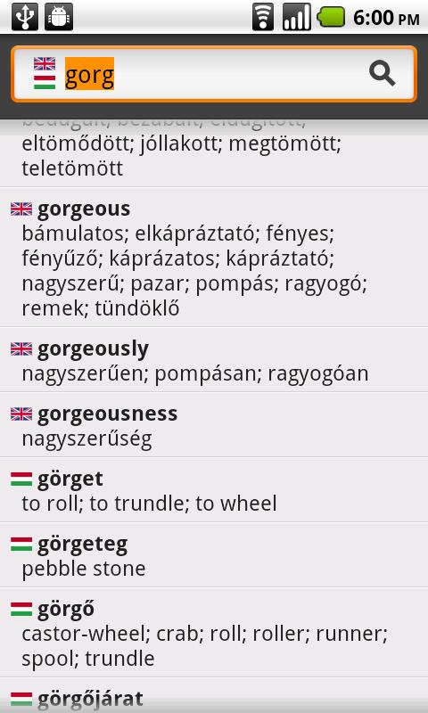 English−Hungarian Dictionary - screenshot