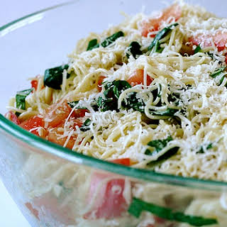 Angel Hair Pasta Salad with Tomato and Basil.