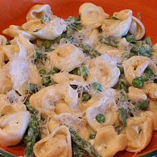 Tortellini, Peas and Asparagus with Creamy Tarragon Sauce.