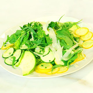 Shaved Raw Summer Squash with Parmesan Dressing.