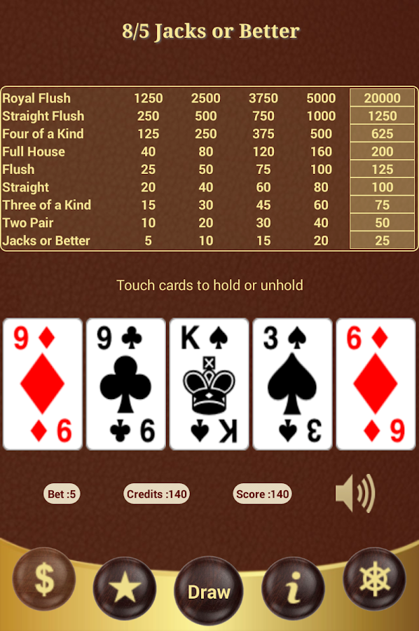 how to play 5 card draw jacks or better