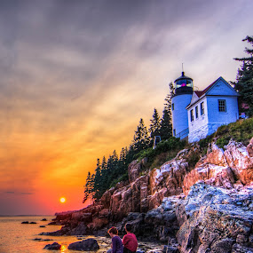 Bass Harbor Head Lighthouse Couple by G. Stetson - Landscapes Sunsets & Sunrises ( , golden hour, sunset, sunrise, improving mood, moods, red, love, the mood factory, inspirational, passion, passionate, enthusiasm, relax, tranquil, relaxing, tranquility )