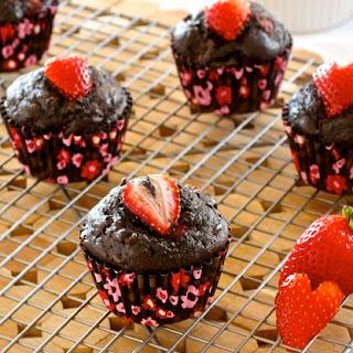 Healthier Chocolate Strawberry Banana Muffins.
