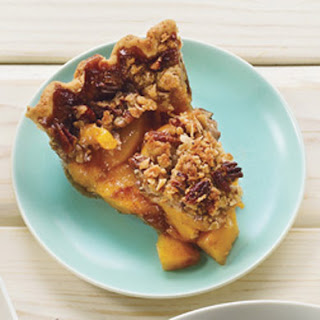 Deep-Dish Peach Pie with Pecan Streusel Topping.
