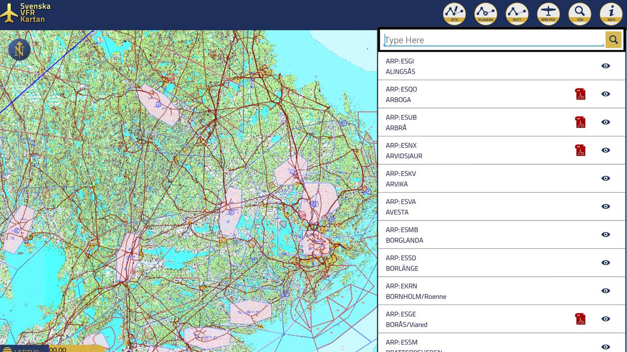 Svenska VFR Kartan - screenshot