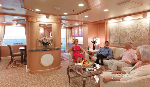 A master suite aboard Queen Elizabeth offers guests with a spacious sitting area, walk-in wardrobe, large furnished private balcony, tasteful decorations and a personal butler. The suites run 1,100 square feet or more.