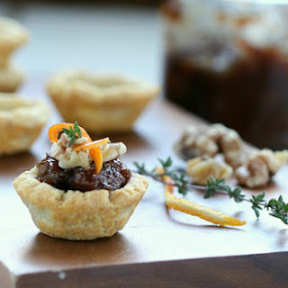 Blue Cheese Tartlets With Fig Jam and Walnuts.