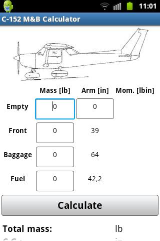 Cessna C-152 Mass & Balance - screenshot
