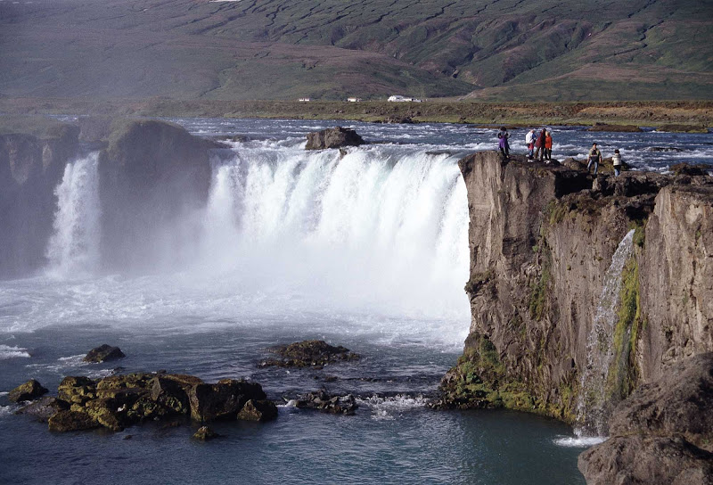 Goðafoss (Anglicized as Godafoss) waterfall in Iceland. Cruise passengers should try to arrange a pre- or post-stay to take in the natural beauty found throughout Iceland.