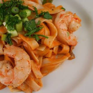 Curried Pasta with Shrimp, Snap Peas, and Shiitakes.