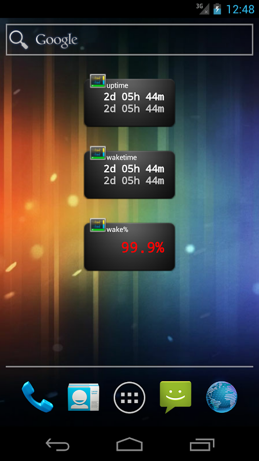 Uptime widget- screenshot