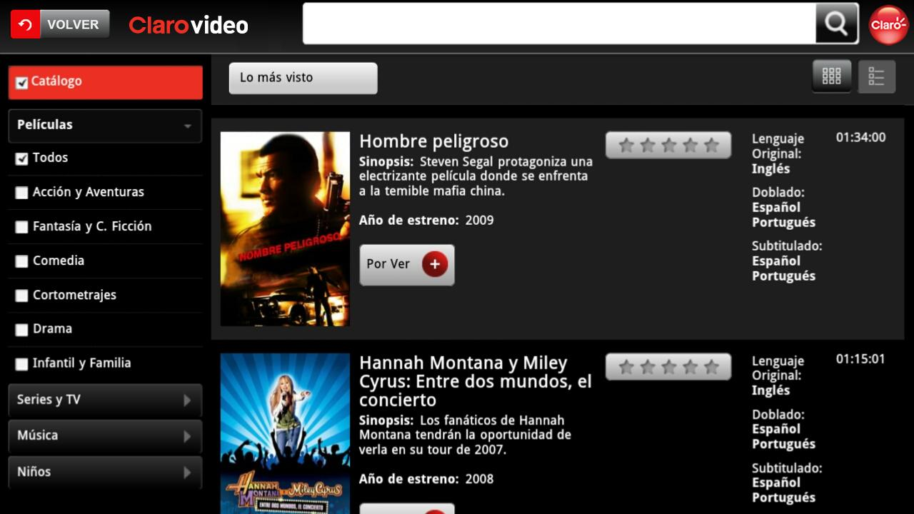 Clarovideo - screenshot