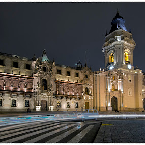 Catedral by Fico Stein Montagne - Buildings & Architecture Public & Historical ( cathedral, nikon d7000, plaza, catedral, centro de lima, , city at night, street at night, park at night, nightlife, night life, nighttime in the city )