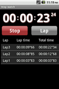 Droid timer and stopwatch - screenshot thumbnail