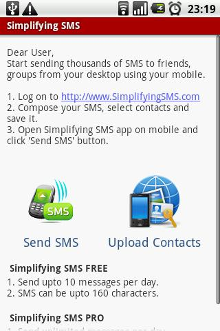 Simplifying SMS - screenshot
