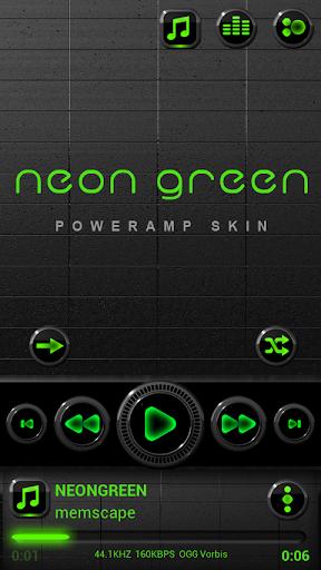 Poweramp skin Neon Green