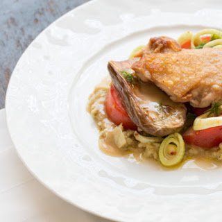 Pan-Seared Chicken Thighs with Roasted Baby Zebra Eggplants & Fennel Salad Recipe