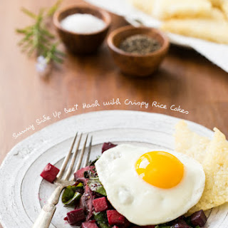 Sunny Side Up Beet Hash with Crispy Rice Cakes.