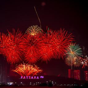 New Year Eve Pattaya. by John Greene - Public Holidays New Year's Eve ( fireworks, show, beach road, celebration, john greene, pattaya )