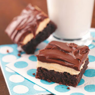 Fudgy Brownies with Peanut Butter Pudding Frosting.